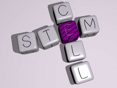 stem cell combined by dice letters and color crossing for the related meanings of the concept. background and illustration