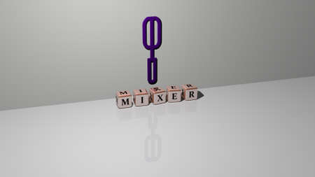 3D representation of MIXER with icon on the wall and text arranged by metallic cubic letters on a mirror floor for concept meaning and slideshow presentation. illustration and background