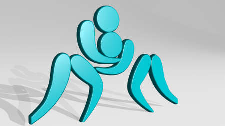 wrestling made by 3D illustration of a shiny metallic sculpture with the shadow on light background. competition and arm
