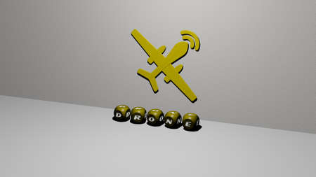 3D illustration of DRONE graphics and text made by metallic dice letters for the related meanings of the concept and presentations. aerial and view