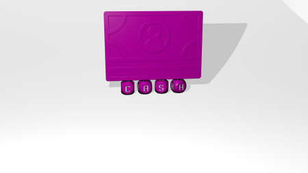 3D illustration of cash graphics and text made by metallic dice letters for the related meanings of the concept and presentations. business and money 写真素材