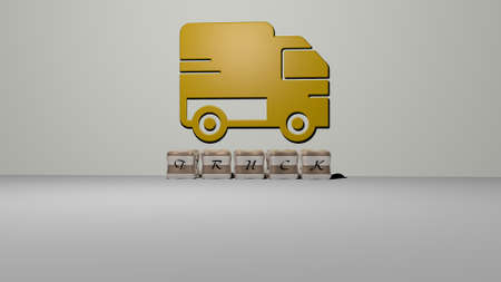 3D illustration of TRUCK graphics and text made by metallic dice letters for the related meanings of the concept and presentations. car and cargo
