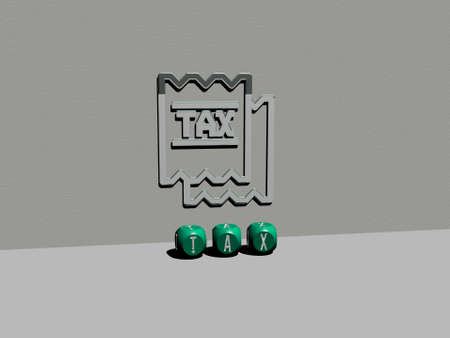 3D graphical image of TAX vertically along with text built by metallic cubic letters from the top perspective, excellent for the concept presentation and slideshows. business and illustration