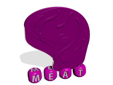 3D graphical image of meat vertically along with text built by metallic cubic letters from the top perspective, excellent for the concept presentation and slideshows. food and background