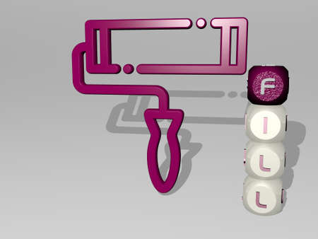 3D representation of fill with icon on the wall and text arranged by metallic cubic letters on a mirror floor for concept meaning and slideshow presentation. illustration and background