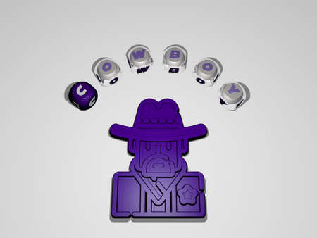 3D illustration of cowboy graphics and text around the icon made by metallic dice letters for the related meanings of the concept and presentations. hat and background