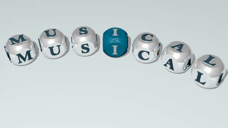 crosswords of MUSICAL arranged by cubic letters on a mirror floor, concept meaning and presentation. illustration and background