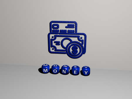 3D illustration of MONEY graphics and text made by metallic dice letters for the related meanings of the concept and presentations. business and background 写真素材
