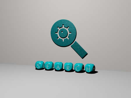 3D illustration of SEARCH graphics and text made by metallic dice letters for the related meanings of the concept and presentations. icon and business