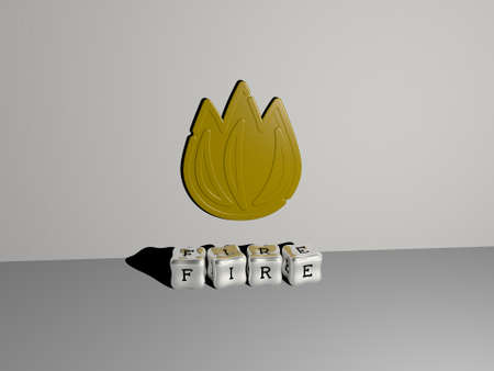 3D representation of FIRE with icon on the wall and text arranged by metallic cubic letters on a mirror floor for concept meaning and slideshow presentation. illustration and background 스톡 콘텐츠