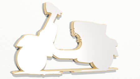 motorbike scooter made by 3D illustration of a shiny metallic sculpture on a wall with light background. motorcycle and biker