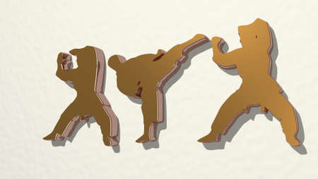 SPORT PEOPLE made by 3D illustration of a shiny metallic sculpture on a wall with light background. design and activity