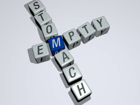 crosswords of EMPTY STOMACH arranged by cubic letters on a mirror floor, concept meaning and presentation. background and illustration