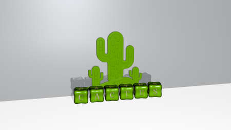 3D graphical image of CACTUS vertically along with text built by metallic cubic letters from the top perspective, excellent for the concept presentation and slideshows. background and illustration 免版税图像