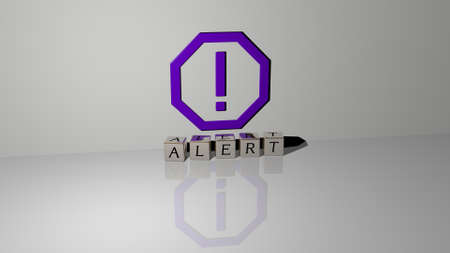 3D representation of alert with icon on the wall and text arranged by metallic cubic letters on a mirror floor for concept meaning and slideshow presentation. illustration and background