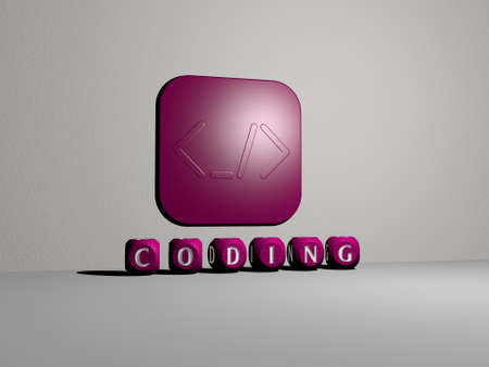 3D graphical image of coding vertically along with text built by metallic cubic letters from the top perspective, excellent for the concept presentation and slideshows. illustration and code