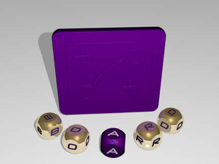 3D illustration of board graphics and text around the icon made by metallic dice letters for the related meanings of the concept and presentations. background and wooden