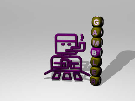 3D graphical image of GAMBLER vertically along with text built around the icon by metallic cubic letters from the top perspective. excellent for the concept presentation and slideshows. casino and