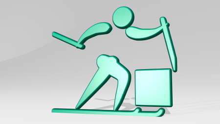 SPORT PEOPLE made by 3D illustration of a shiny metallic sculpture with the shadow on light background. design and activity