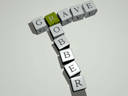combination of grave robber built by cubic letters from the top perspective, excellent for the concept presentation. cemetery and ancient
