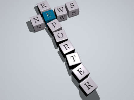 combination of NEWS REPORTER built by cubic letters from the top perspective, excellent for the concept presentation. illustration and background