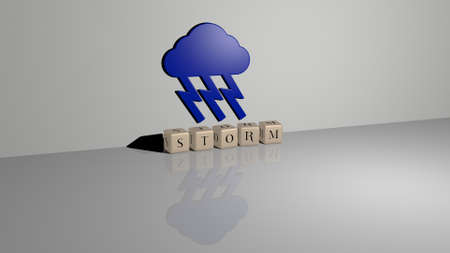 3D illustration of storm graphics and text made by metallic dice letters for the related meanings of the concept and presentations. background and clouds Stok Fotoğraf