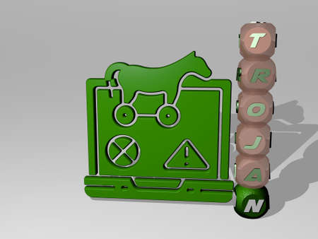 3D graphical image of TROJAN vertically along with text built around the icon by metallic cubic letters from the top perspective. excellent for the concept presentation and slideshows. illustration