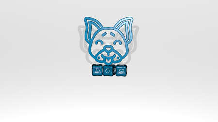 3D illustration of DOG graphics and text made by metallic dice letters for the related meanings of the concept and presentations. animal and cute Stockfoto
