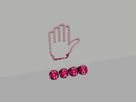 3D graphical image of hand vertically along with text built by metallic cubic letters from the top perspective, excellent for the concept presentation and slideshows. illustration and background 스톡 콘텐츠