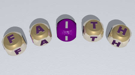 FAITH combined by dice letters and color crossing for the related meanings of the concept. church and architecture