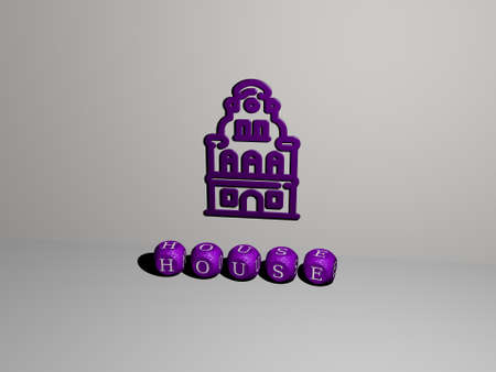 3D illustration of house graphics and text made by metallic dice letters for the related meanings of the concept and presentations. building and architecture