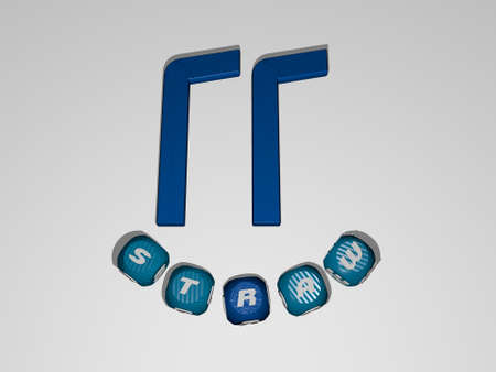 3D illustration of STRAW graphics and text around the icon made by metallic dice letters for the related meanings of the concept and presentations. background and hat