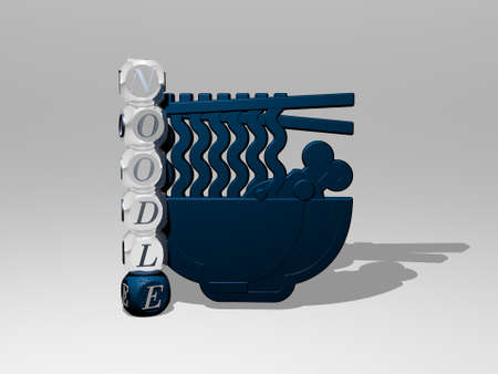 3D representation of NOODLE with icon on the wall and text arranged by metallic cubic letters on a mirror floor for concept meaning and slideshow presentation. food and asian