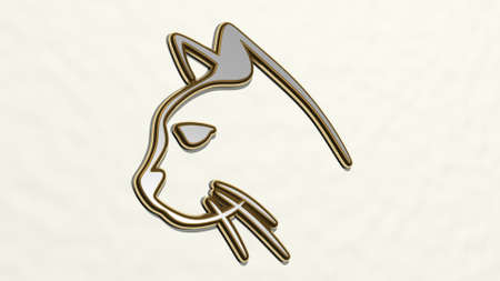 CAT made by 3D illustration of a shiny metallic sculpture on a wall with light background. animal and cute