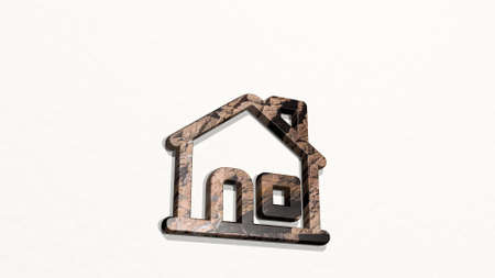 HOUSE made by 3D illustration of a shiny metallic sculpture on a wall with light background. building and architecture
