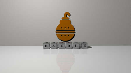 3D representation of BAUBLE with icon on the wall and text arranged by metallic cubic letters on a mirror floor for concept meaning and slideshow presentation. christmas and background