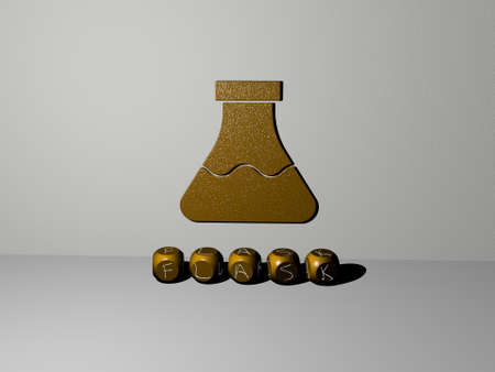 3D illustration of FLASK graphics and text made by metallic dice letters for the related meanings of the concept and presentations. chemical and chemistry