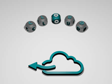 3D illustration of cloud graphics and text around the icon made by metallic dice letters for the related meanings of the concept and presentations. background and blue Imagens