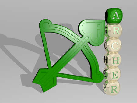 3D graphical image of archer vertically along with text built around the icon by metallic cubic letters from the top perspective. excellent for the concept presentation and slideshows. illustration