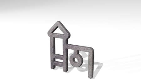 FAMILY OUTDOORS PLAYHOUSE made by 3D illustration of a shiny metallic sculpture casting shadow on light background. child and happy