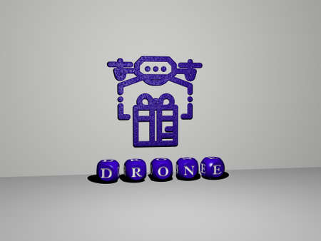 3D representation of drone with icon on the wall and text arranged by metallic cubic letters on a mirror floor for concept meaning and slideshow presentation. aerial and view