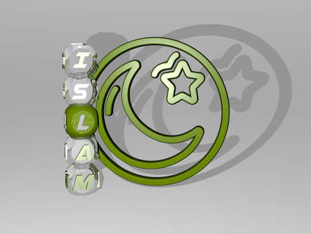 3D representation of ISLAM with icon on the wall and text arranged by metallic cubic letters on a mirror floor for concept meaning and slideshow presentation. arabic and illustration