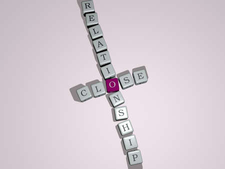 close relationship combined by dice letters and color crossing for the related meanings of the concept. background and closeup Stock Photo