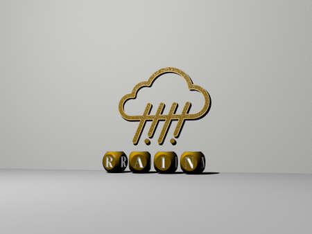 3D illustration of rain graphics and text made by metallic dice letters for the related meanings of the concept and presentations. background and beautiful