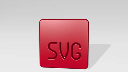 image document svg stand with shadow. 3D illustration of metallic sculpture over a white background with mild texture. business and concept Stock Photo