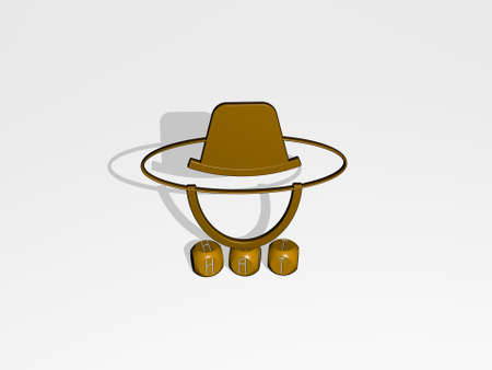 3D illustration of HAT graphics and text made by metallic dice letters for the related meanings of the concept and presentations. background and girl Stock fotó
