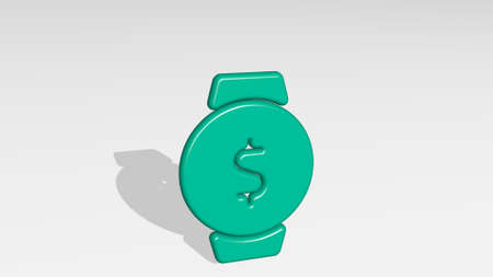 smart watch circle cash from a perspective with the shadow. A thick sculpture made of metallic materials of 3D rendering. phone and illustration