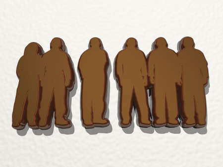 people standing together made by 3D illustration of a shiny metallic sculpture on a wall with light background. business and concept