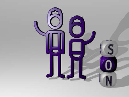 3D illustration of SON graphics and text around the icon made by metallic dice letters for the related meanings of the concept and presentations. father and family