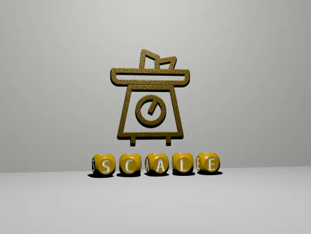 3D illustration of scale graphics and text made by metallic dice letters for the related meanings of the concept and presentations. background and design